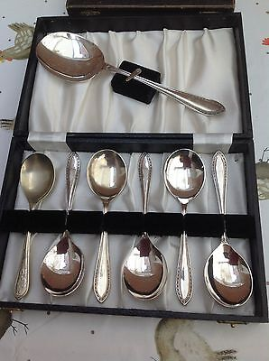 Set of 6 desert spoons and server in box