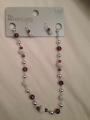 New With Tags M&S Silver Plated Necklace And Earrings Set