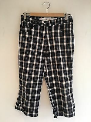 Masters Golf Fashion Ladies Checked Black Grey Pink Cropped Trousers Size 12
