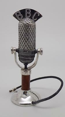 RARE Vintage Solid Sterling Silver 925 BBC Radio Microphone Miniature - Stamped