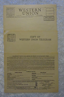 Vintage 1940 Western Union Blank Telegram Forms Lot of 20