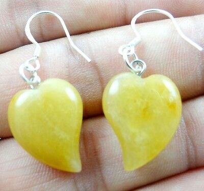 Pair Hand-carved of Crooked heart yellow jade pendant Gemstone Earrings X77