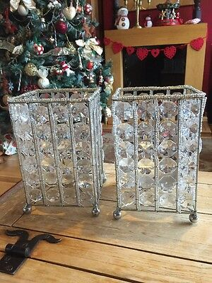 2 X Crystal Look Candle Holders