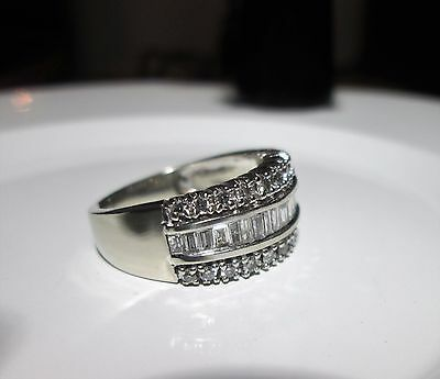 9ct White Gold Chunky 1ct Baguette & Round Diamond Eternity Ring Size N