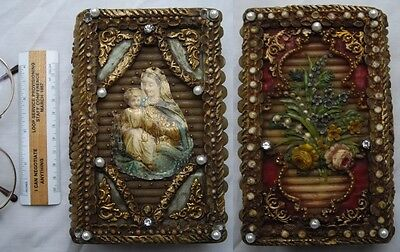 Antique Madonna Mary and Child Jesus Christ Wax Bible Box Christian Book Icon
