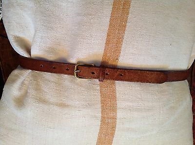 "Vintage tan leather belt, brass buckle, narrow, 34""-40"" classic simple quality"
