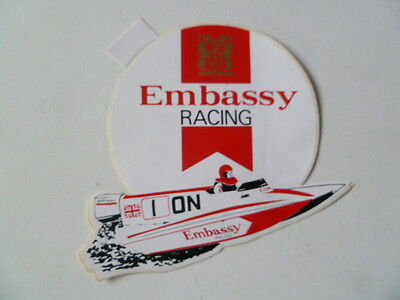 Embassy Racing Power Boat Vintage Sticker