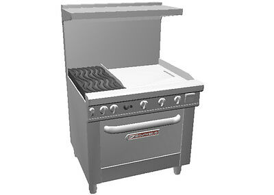 """Southbend 4362D-2T* Ultimate 36"""" Range w/ Oven, Wavy Grates & 24"""" Therm. Griddle"""