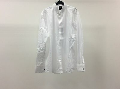 Mens White Wing Plain Slim Fit Formal Tuxedo Dress Shirt Size 17 - 3A1214