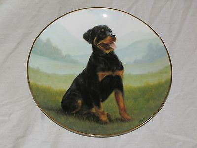 "Danbury Mint Rottweiler Porcelain Collector Plate ""At Attention"" John Silver"