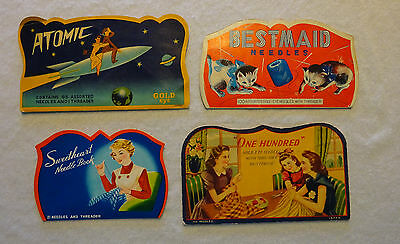 Vintage Needle Packs Ads Bestmaid Atomic Sweetheart One Hundred Lot of 4