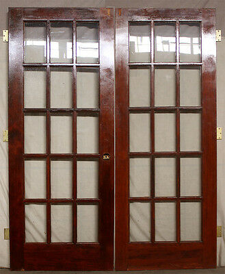 "60""x79 Vintage Interior French Solid Wood Pair Double Door Window Tempered Glass"
