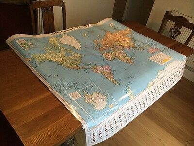 Huge Laminated World Map and World Flags 2004 Edition
