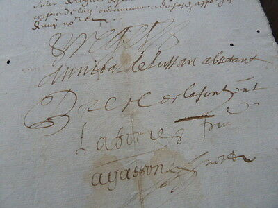 Amazing 17th Century French Legal Document, Hand Written Sepia Ink Sript, 1680