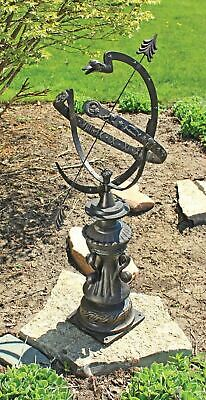 "Antiqued Authentic Hyde Park Armillary Sphere Zodiac Signs 40"" Garden Statue"