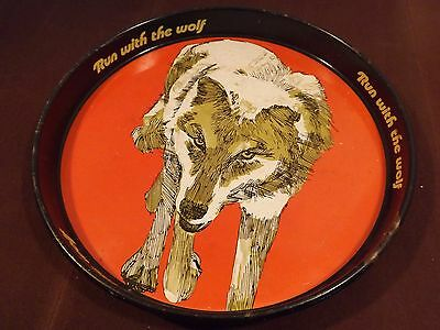 VINTAGE WOLF'S HEAD OIL Beer Tray 1970's A Real Beauty! RARE