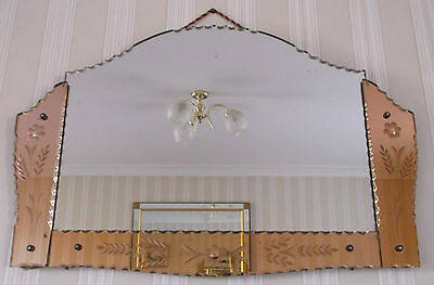 STUNNING ORIGINAL 1930s ART DECO FRAMELESS ETCHED SCALLOPED COLOUR PANELS MIRROR
