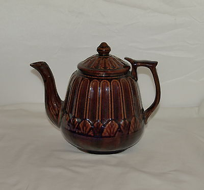 ANTIQUE BROWN GLAZED STONEWARE TEAPOT ; Marked FIRE PROOF