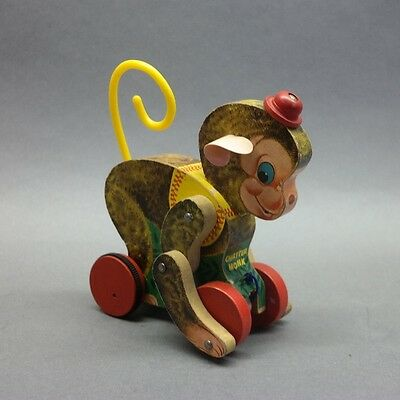 Vtg Fisher Price 798 Chatter Monk Circus Monkey Wooden Pull Toy w/Original Ears