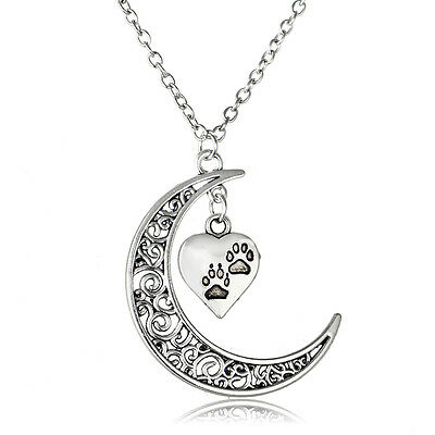 Popular Hot Women Moon Hollow Heart Footprints Charm  Necklace Pendant  Gifts