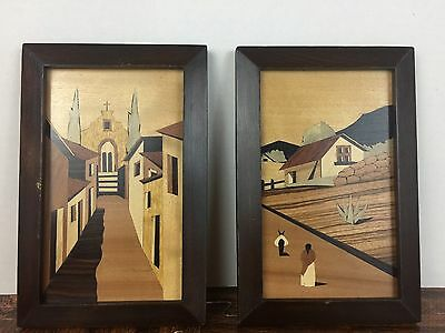 Hudson River Inlay Marquetry Wood Art Picture of Village