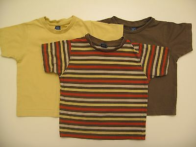 Baby Boys 3 x TU Brown & Yellow T-Shirts/Tops12-18mths - Used Ex Cond