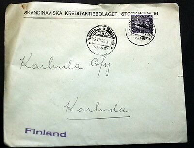 Sweden cover to Finland perfin    #002