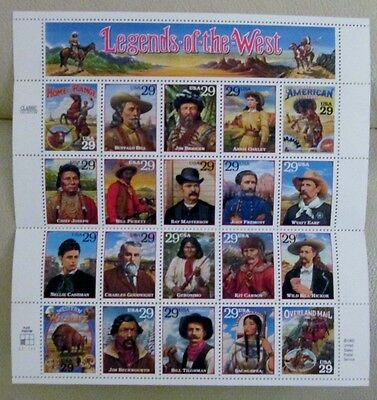 Legends of the West - Full Sheet of 20 - 1994