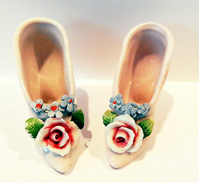 Pink Porcelain Capodimonte Floral High Heeled Shoes*Germany