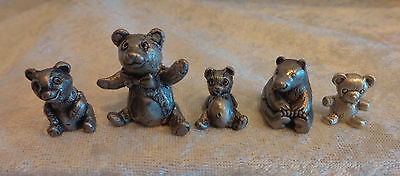 Solid Pewter Bears Tiny Signed Marked ¾ to 1 ¼ Inch Lot of 5