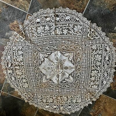 """All Hand Made Vintage Venice Lace And Embroidery Tablecloth White 65"""" Round"""