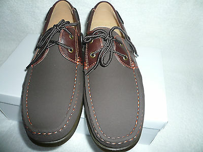 Mens Deck Boat Shoes Lace up Brown Faux Nubuck Suede Brand New Size 11UK 45EU