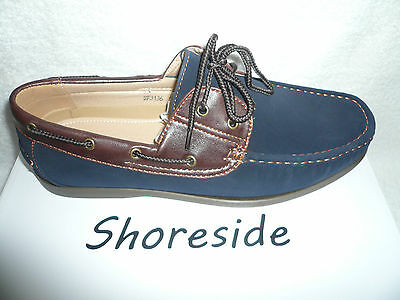 Mens Deck Boat Shoes New Lace up Navy/Brown Faux Nubuck Suede Size 37UK 41EU