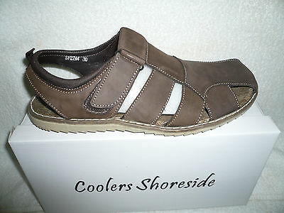 Mens Sandals  Brown Leather Nubuck Touch Fasten Ridge Sole  Brand New Size 11 Uk