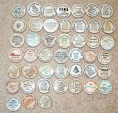 45 Coin Theme Wooden Nickels from All over the USA. Shows, Clubs, Collectors!