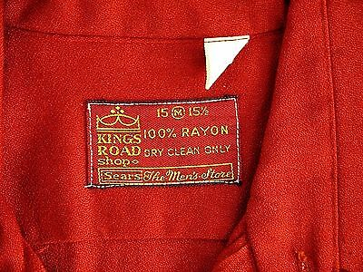 VINTAGE 60s 70s SEARS KINGS ROAD shirt mens M 100% RAYON red big pointed collar