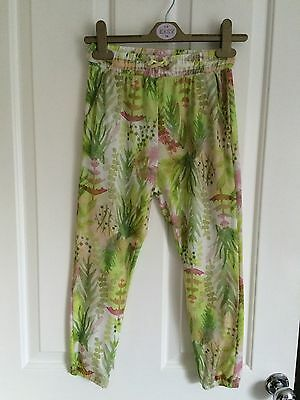 Zara green floral trousers - age 7-8 -VGC