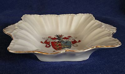Creasted China.  Unmarked.  Dish. Hastings Crest. Small chip.