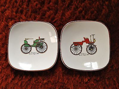 Vintage Sandland Ware. Two small dishes. Vintage motor wagons.