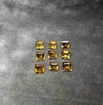 "Citrino ""madeira""9.83Ct TOP Carre Giallo Oro INTENSO lotto 9 pezzi IF-VS 6x6x4mm"