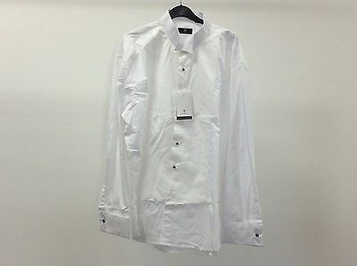 Mens White Wing Marcella Stud Button Formal Dress Shirt Size 18 - 3A226