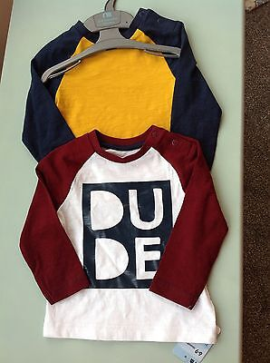 Bnwt Boys Top T Shirt  6-9 Months Mothercare Long Sleeved Dude Next Day Posting