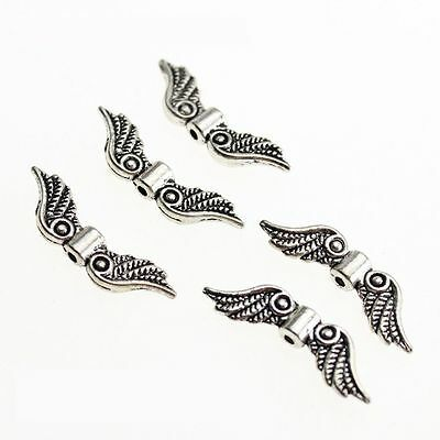 Jewelry Antique Silver Tone Charm Spacer Beads Making Craft Angel Fairy Wings