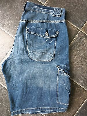 Mens Top Man Blue Cargo Denim Shorts - 32 / 34 waist