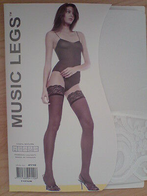 (ML4110) WHITE Elastic Lace Top Thigh High Stockings - One Size