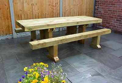 Solid Wooden Sleeper Table And Benches / Garden Furniture 1.8m - 6 seater