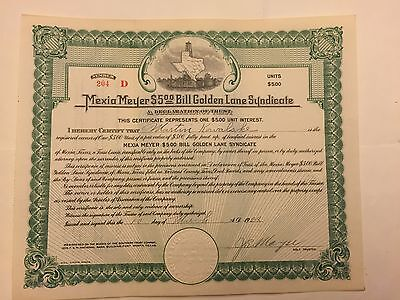 1922 Mexia Meyer $5 Bill Golden Lane Syndicate Oil Stock Certificate Mexia,Texas