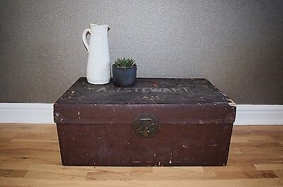Vintage Brown Wooden Trunk Suitcase Storage Container Crate