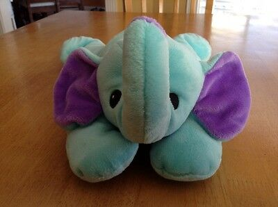 """TY Pillow Pals Squirt Elephant 14"""" Baby Blue Purple Bow 1998 Stuffed Plush Toy"""