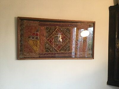 Beautiful Vintage Eastern Fabric Wall Hanging Framed.